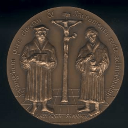 Médaille Confession d'Augsbourg Revers : Luther et Melanchton