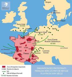 Auswanderung französischer Protestanten in die Zufluchtsländer (Ende des 17. Jahrhunderts)