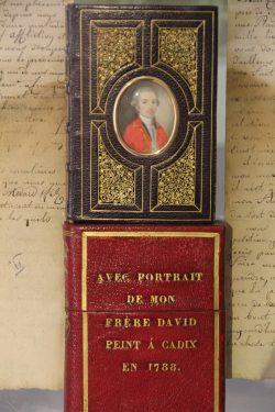Reliure en maroquin avec portrait en miniature de David Médard, frère de Louis