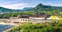 Photo panoramique du palais de Gyeongbokgung, Corée du Sud