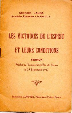 Sermon imprimé du pasteur aumônier Georges Lauga (1917)