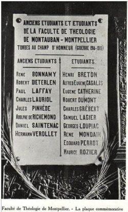 Monuments aux morts - Faculté de théologie de Montpellier