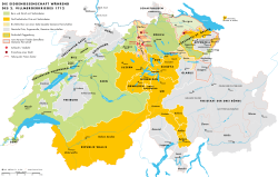 Cantons Protestants Bern, Zürich et alliés Cinq cantons Catholiques et alliés et Parties neutres - Toggenburg (1712)