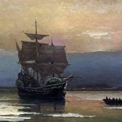 «Mayflower dans le port de Plymouth» par William Halsall, 1882